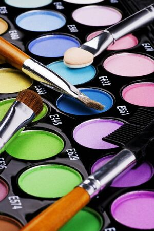A make-up multi colored palette close up. Stock Photo