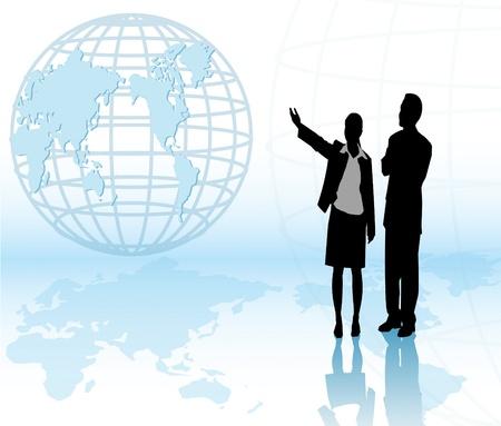 Een zakelijke vrouw presenteren met een zakenman. Stock Illustratie