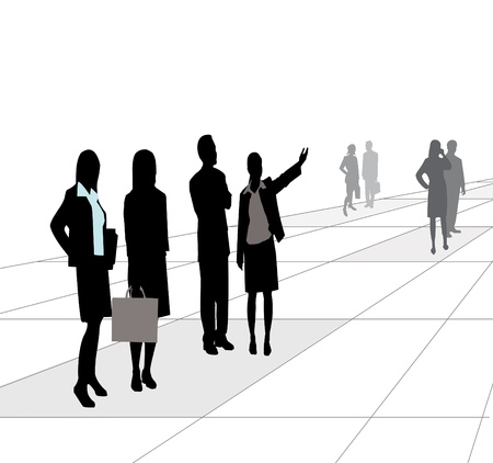 A group of business people on the street Illustration