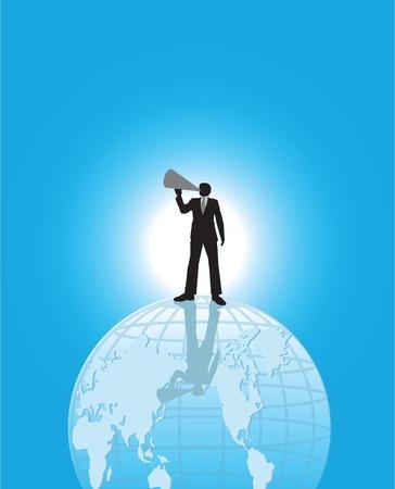 speaker system: Un hombre de negocios permanente en el eart para hacer un anuncio.
