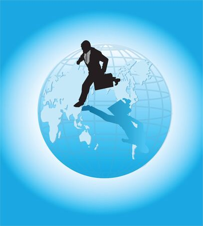 A busy businessman running on top of a globe.
