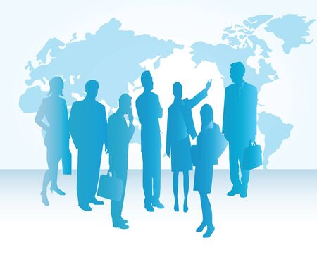 Group of business people with the world map in the background.