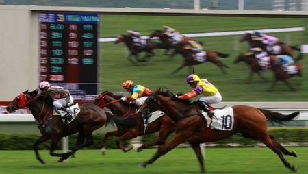 De paarden rennen op Hong Kong Jockey Club, grote scherm op de achtergrond. (heb wat lawaai als gevolg van hoge ISO en lichte wazig voor animatie-effect)  Stockfoto