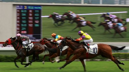 animal tracks: The Horse Racing at Hong Kong Jockey Club, big screen on the background. (got some noise due to high ISO and slight blurry for motion effect) Stock Photo