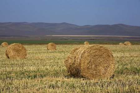 The hay bale in Inner Mongolia grassland in autumn season. Stock Photo - 1936264
