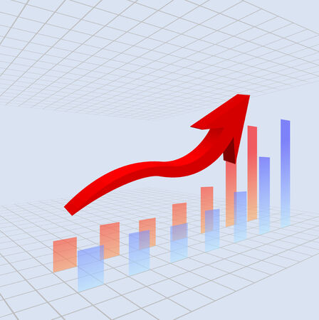 Staafdiagram met rode pijl zingen en het rooster op de achtergrond. Stock Illustratie