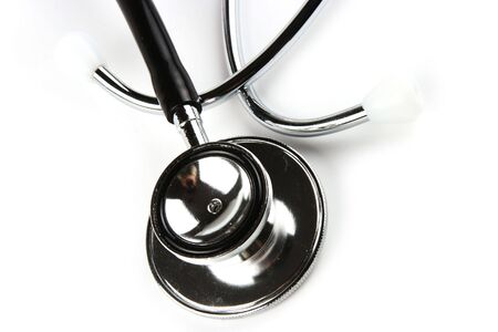 myocardium: A stethoscope in plain white background. Stock Photo