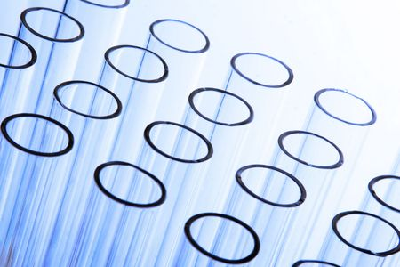 A bunch of test tubes in plain background. Stock Photo