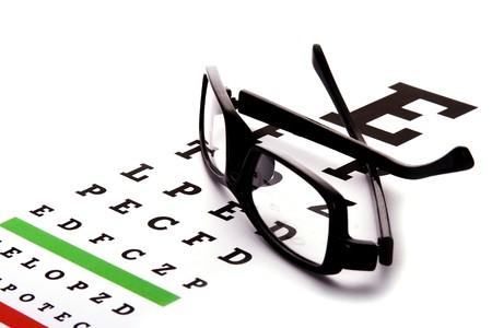 sight chart: Un cuadro con un ojo negro marco de anteojos.