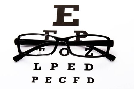 An eye chart with a black frame eyeglasses. photo