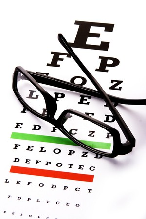 eye chart: An eye chart with a black frame eyeglasses.