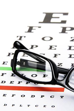 An eye grafiek met een zwart frame brillen. Stockfoto