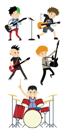 Rock band flat illustration