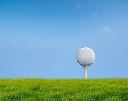 Golf put on tee photo