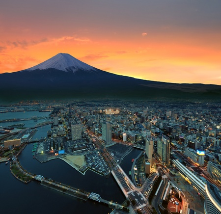 Digitale retoucheren van yokohama gezichtspunt Stockfoto