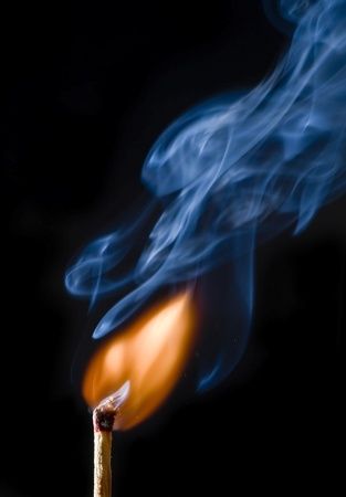 ignited: Match spark Stock Photo