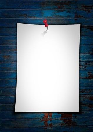 letter memo: Paper note on grunge wood blue