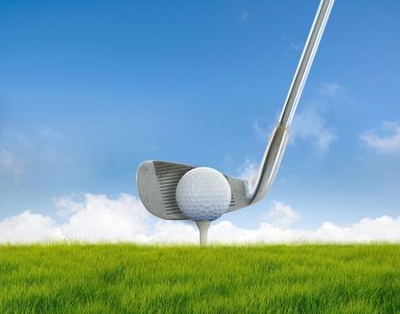 fairway: Golf on tee Stock Photo