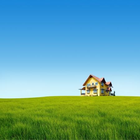 春には新しいれんが造りの家 写真素材