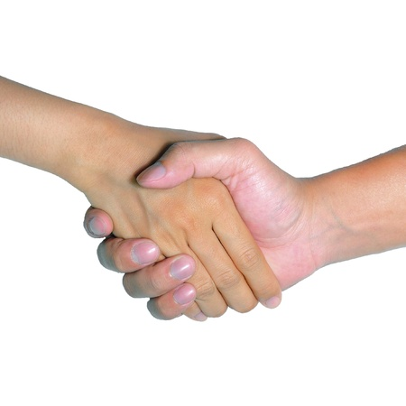 shaking hands business: Man and woman handshake isolated on white background