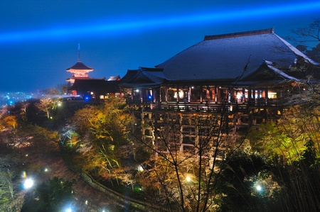 Lighting of Kiyomizu temple in Japan