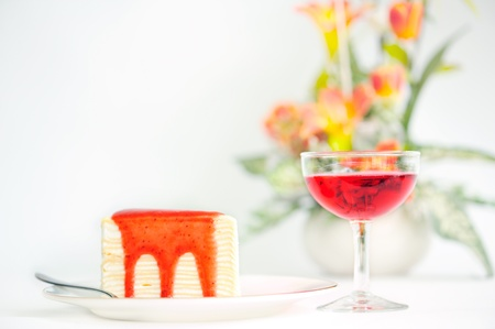 Strawberry crepe cake Stock Photo - 13058937