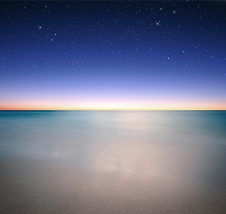 Sky and sea view at night