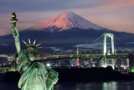 tokyo prefecture: Surreal view of Odaiba city in Japan