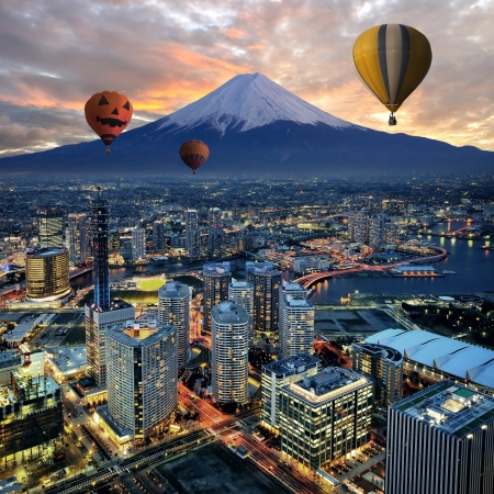 Surreal view of Yokohama city in Japan photo