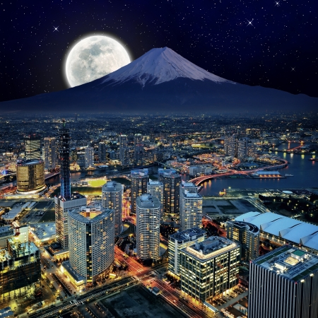 Surreal view of Yokohama city Stok Fotoğraf
