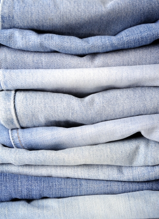 western attire: Stack of blue jean Stock Photo