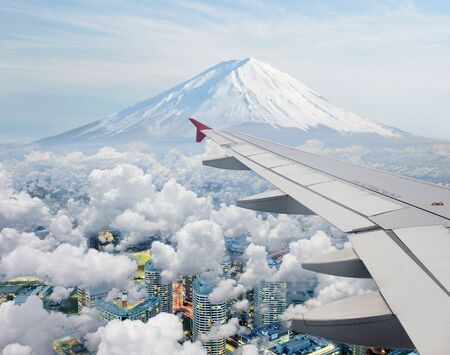 Surreal view of Mt Fuji view from air plane photo