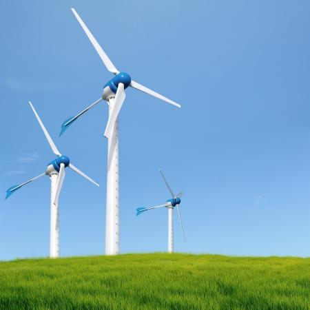turbina: Las turbinas de viento en un campo abierto en un d�a nublado Foto de archivo