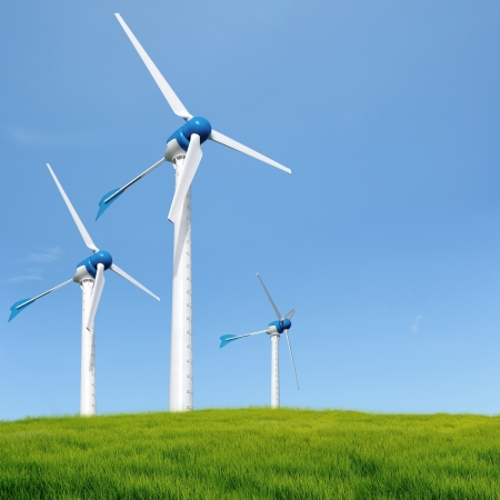 Wind turbines in an open field on cloudy day  photo