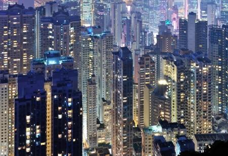 old times:  City midtown skyline at dark at Hong Kong