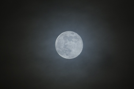 Full moon with dark cloud at night photo