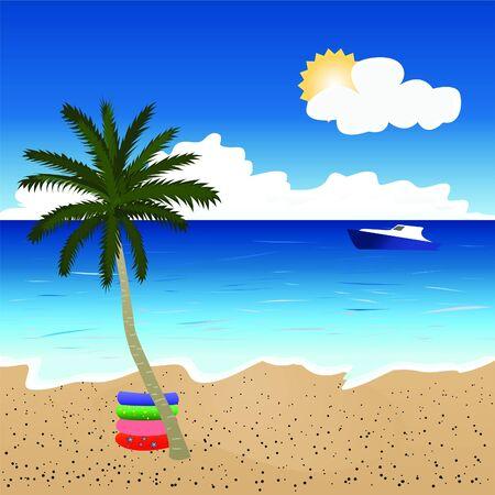 Beautiful beach landscape Stock Vector - 16733534