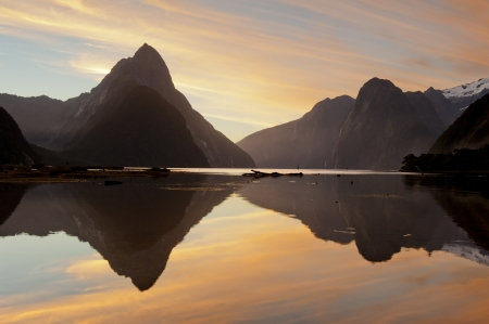 landscape of high mountain glacier at milford sound, New Zealand photo
