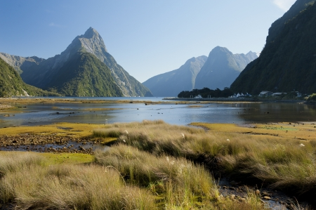 in high mountain: landscape of high mountain glacier at milford sound, New Zealand Stock Photo