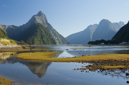 fiordland: landscape of high mountain glacier at milford sound, New Zealand Stock Photo