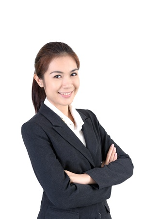 Portrait of young happy smiling business woman,