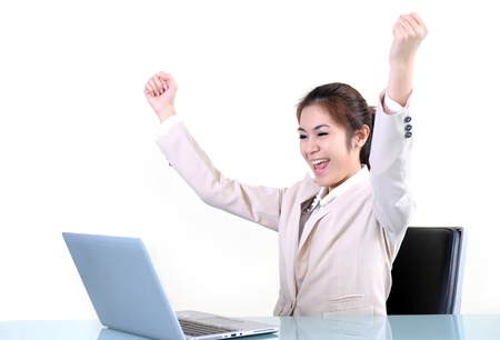 Business woman using laptop in office Stock Photo - 19811886