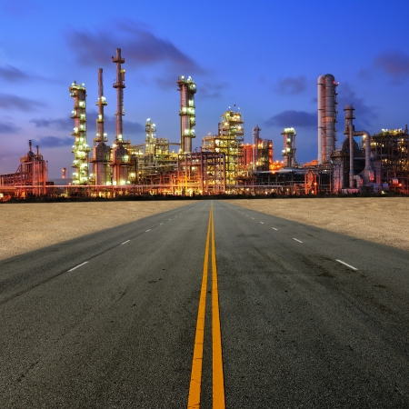 Petrochemical plant at sand desert photo
