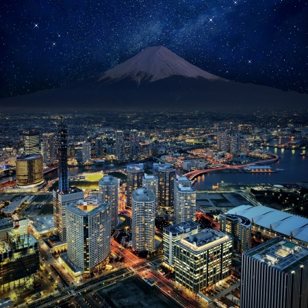 Surreal view of Yokohama city and Mt  Fuji photo