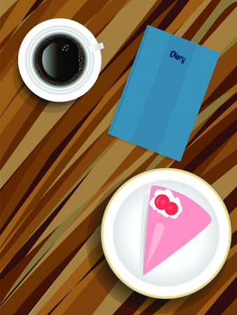 Coffe cake on table Vector