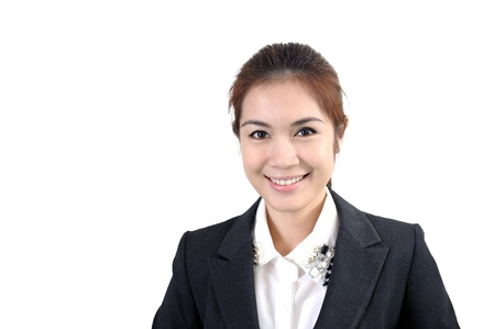 Portrait of young happy smiling business woman, photo