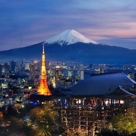 Diverse reisbestemming in Japan Tokyo tower, Fuji, Kiyomizu-dera tempel Je kunt gebruiken voor uw reisbrochures Japan