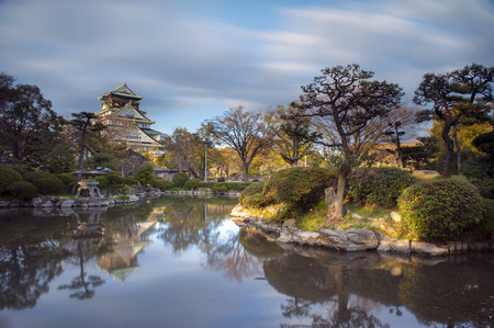 pool water in garden of osaka castle\