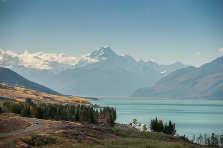 lofty: Mt Cook view from the beautiful blue lake Pukaki, New Zealand, South Island