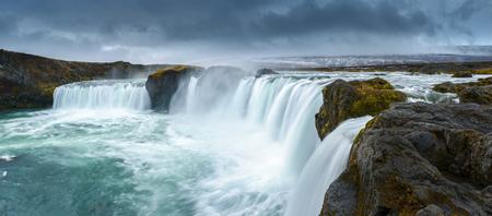 waterfall with sky: Godafoss waterfall Northern Iceland